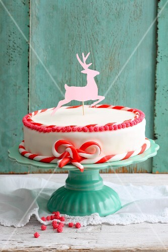 Carrot cake with a fondant deer decoration