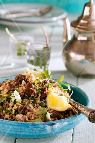Pilau rice with lamb and lemon