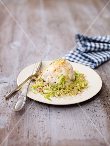 Monkfish fillet on a pointed cabbage medley
