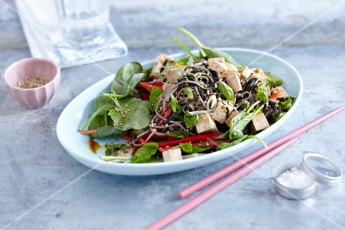 Soba noodle salad with tofu, nori and young spinach