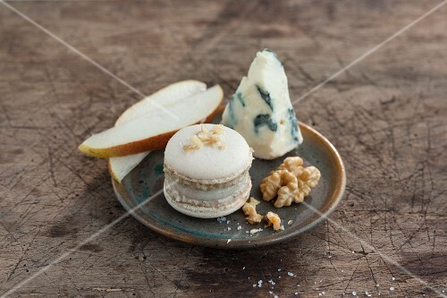 A savoury macaroon with a pear, Roquefort and walnut filling