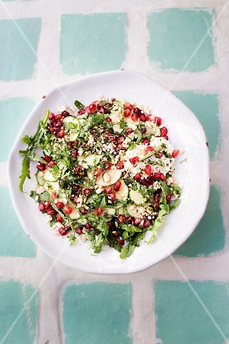 Salad with couscous and pomegranate seeds from the restaurant La Famille, Marrakesh, Morocco