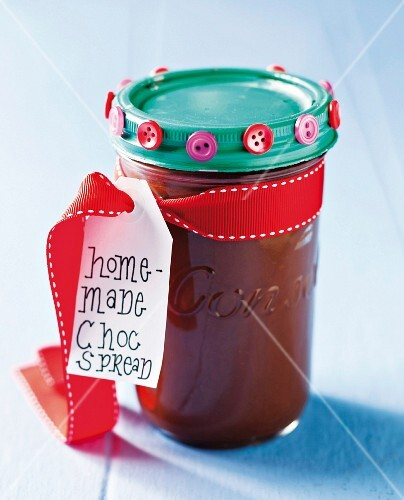 Homemade chocolate spread as a gift