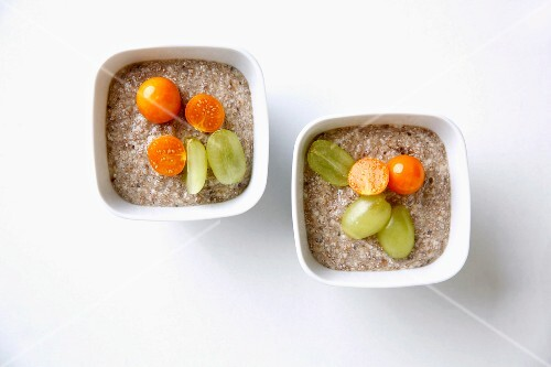 Banana and chia desserts with amchur and a fruit garnish