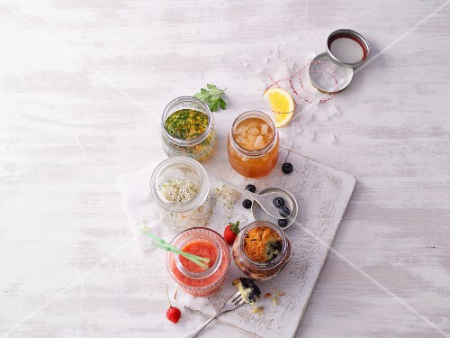 Soups and salads in jars