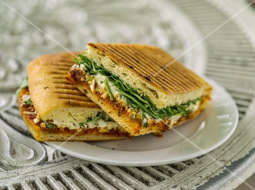 Panini filled with cheese and vegetables