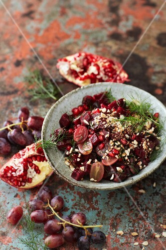 Beetroot salad with red grapes, hazelnuts and pomegranate dressing