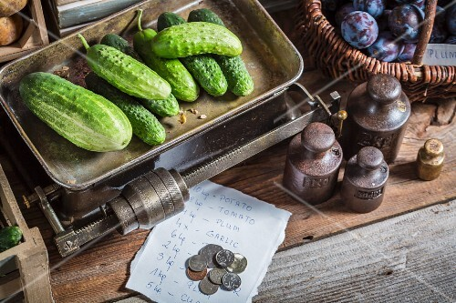Cucumbers on an old pair of scales