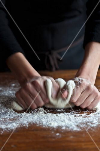Bread dough being knead