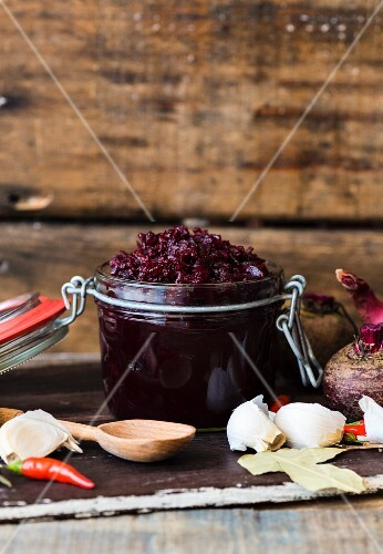 A jar of beetroot relish