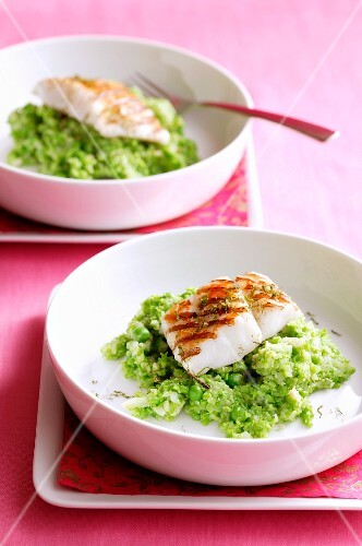 Grilled fish fillet on a mushy peas and celery