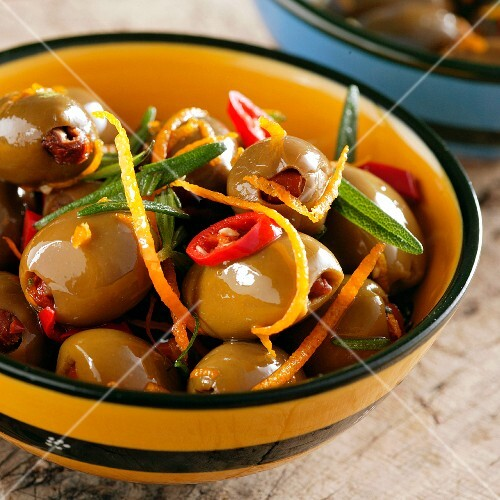 Marinated olives with sage, chillis and orange zest