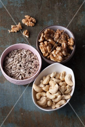 Walnuts, sunflower seeds and cashew nuts – basic vegan cuisine products