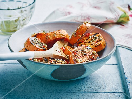 Grilled sweet potatoes with chilli, coriander and garlic