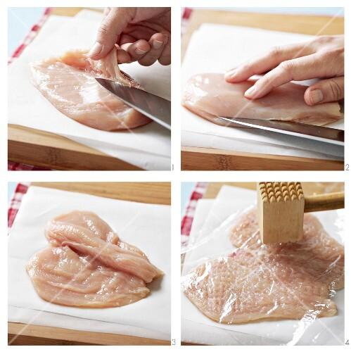 Chicken fillet being prepared