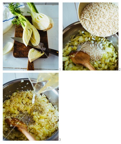Fennel and quark risotto being made