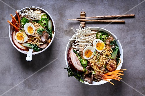 Ramen noodle soup with mushrooms, vegetables, pork belly and egg (Japan)