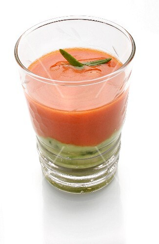 Tomato and cucumber gazpacho with avocado
