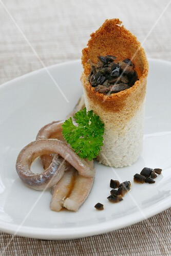 Anchovies with a stuffed toast roll