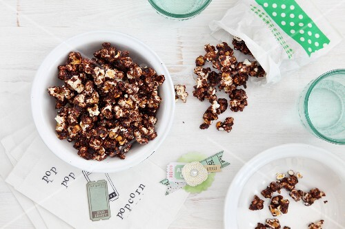 Chocolate popcorn on a white table