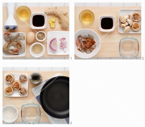 Mushroom and prawn tempura being made