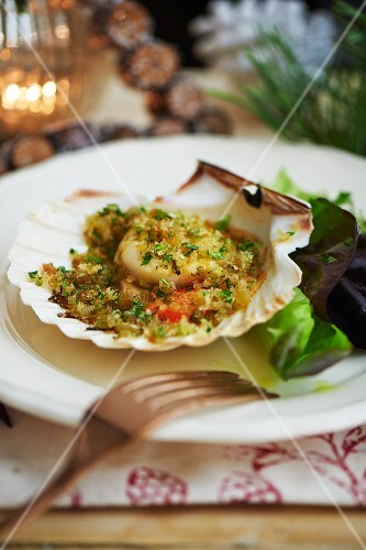 Gratinated scallops for Christmas