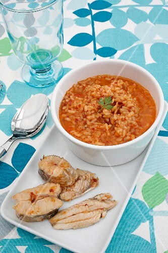 Arroz Caldoso (Spanish rice stew) with fish