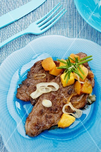 Veal escalope with peaches