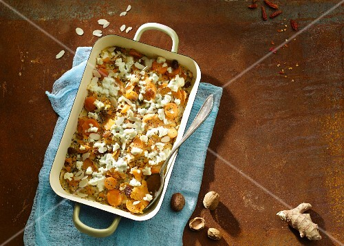 Sweet potato bake with an almond and poppy seed sauce