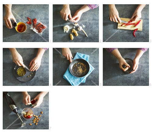 Oriental spice paste being made