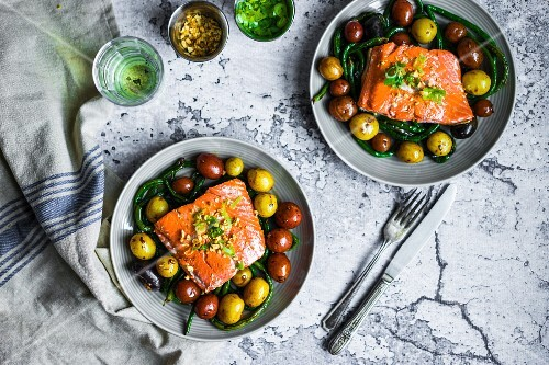 Grilled salmon with beans and potatoes