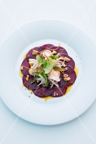 Beetroot carpaccio with Jerusalem artichokes and walnuts