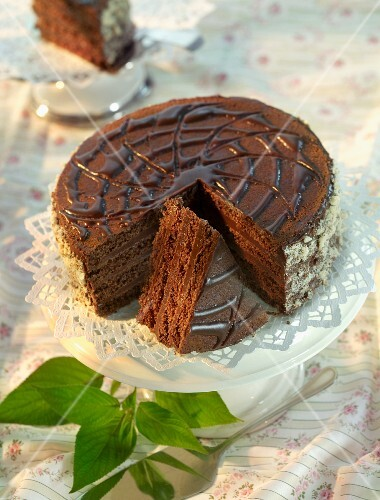 A chocolate pinwheel cake, sliced