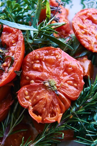 Oven-roasted tomatoes with fresh herbs