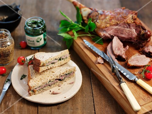 Leg of lamb with mint and sandwiches