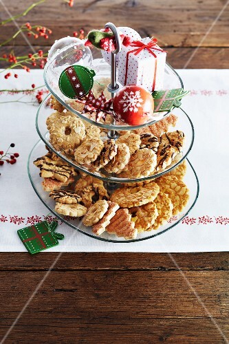 Various Christmas biscuits on a cake stand