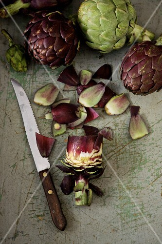 An arrangement of artichokes