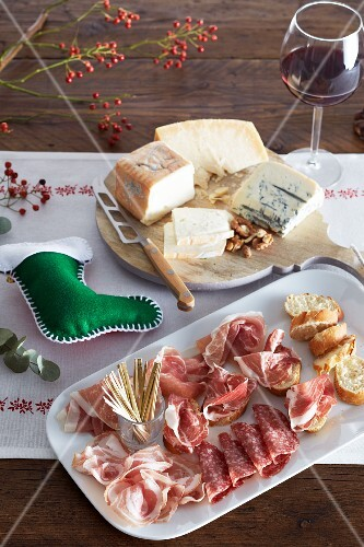 Cheese and ham platter on a Christmas dinner table