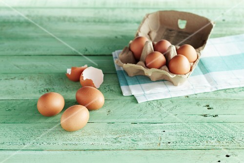 An arrangement of eggs and egg shells