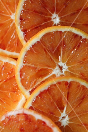 Slices of blood orange (seen from above)