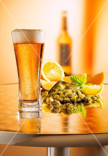 Freshly drawn beer in a glass on a metal table in front of an arrangement of hops, lemons and a beer bottle