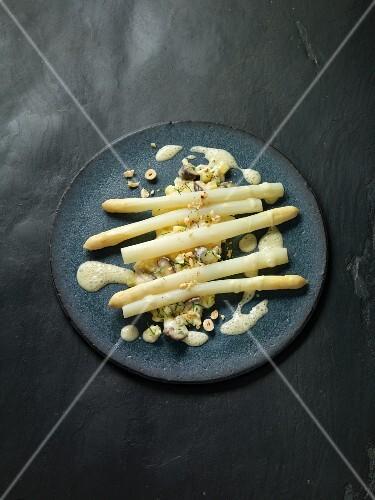 Sou-vide asparagus with potato mushroom risotto and hazelnut sauce