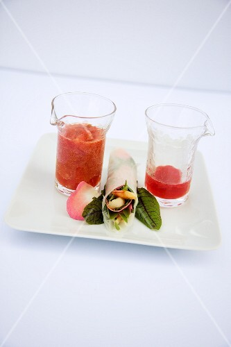 Tomato gazpacho with rosewater and a summer roll with a rose dip