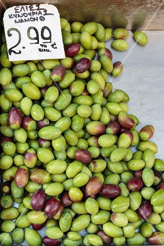 Fresh olives at a market in Athens, Greece