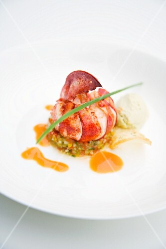Poached lobster with avocado puree and gazpacho tartare