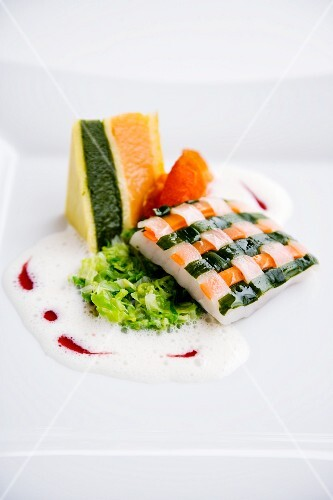 Turbot with a vegetable lattice, Port wine foam, Chinese cabbage and a potato sandwich