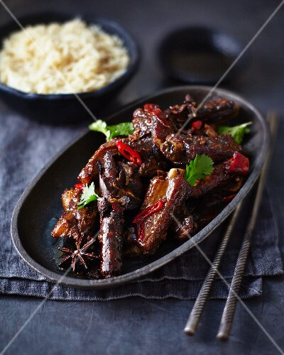 Teriyaki pork ribs with chilli and star anise (Japan)