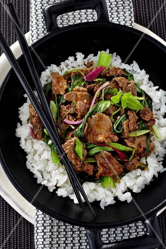 Donburi beef with Chinese cabbage, spring onions and rice (Japan)