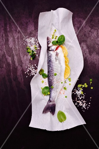 Raw seabass on paper