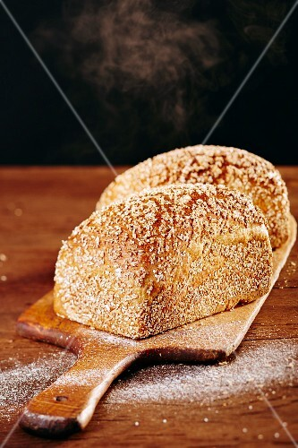 Spelt bread on a chopping board